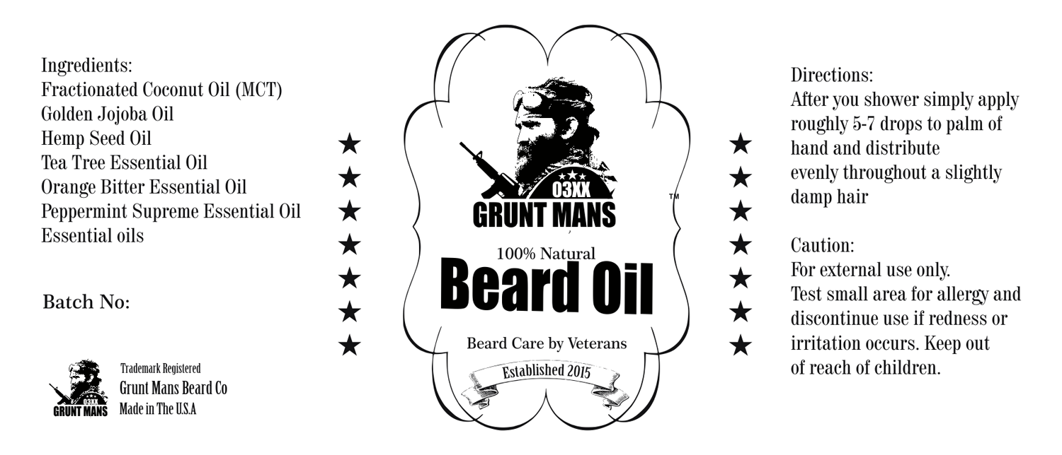 Masculine, Bold Label Design for Grunt Mans Beard Co by 3P