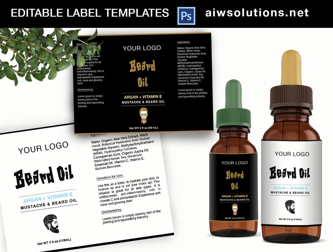 Beard Serum Label Template ID34 ~ Flyer Templates ~ Creative Market