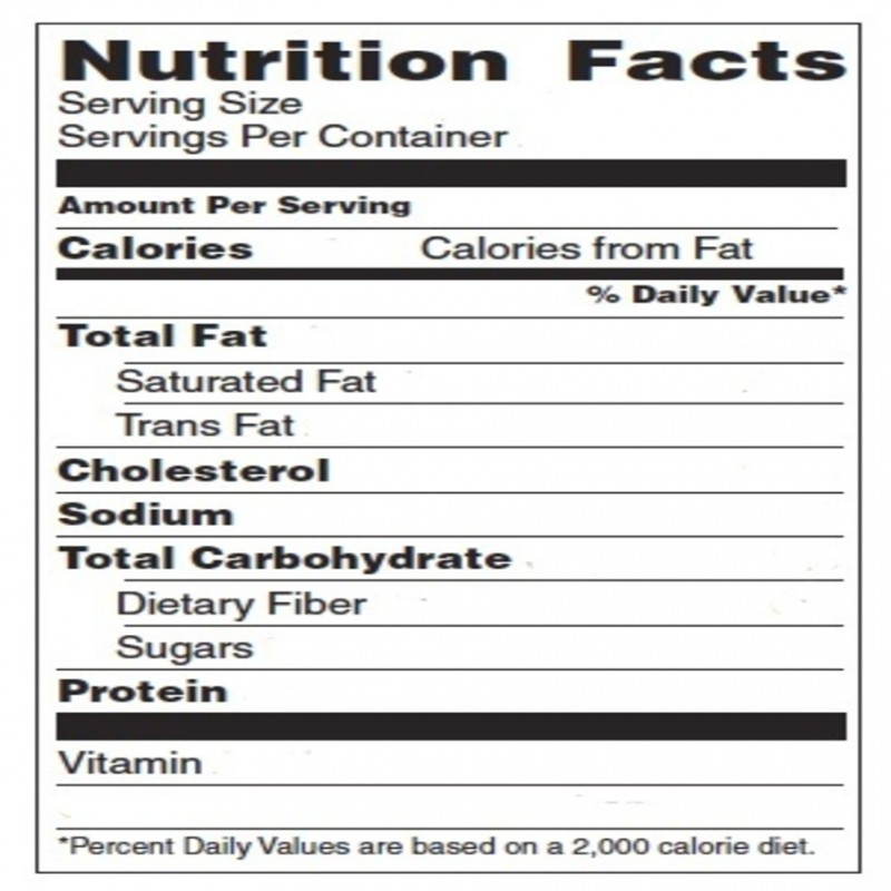Blank nutrition label template word printable label for Nutrition facts table template