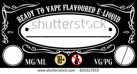 Vaping Eliquid Ejuice Universal Label Template Stock Vector