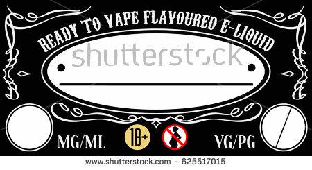 Vaping Eliquid Ejuice Universal Label Template Stock Vector