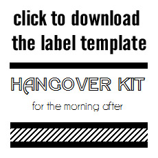hangover kit label Google Search   Wedding planning Ideas