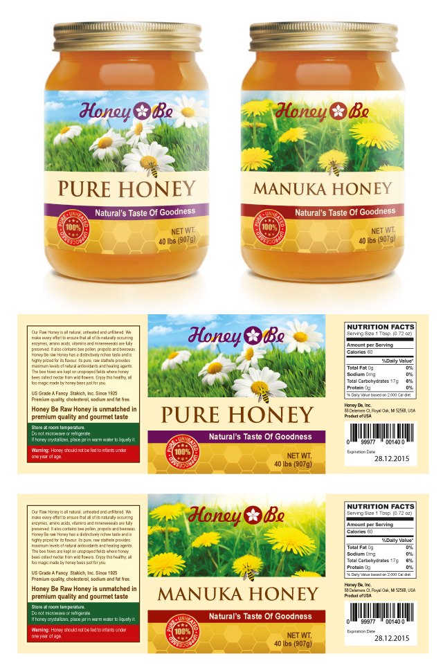Pure Honey & Manuka Honey Labels Template