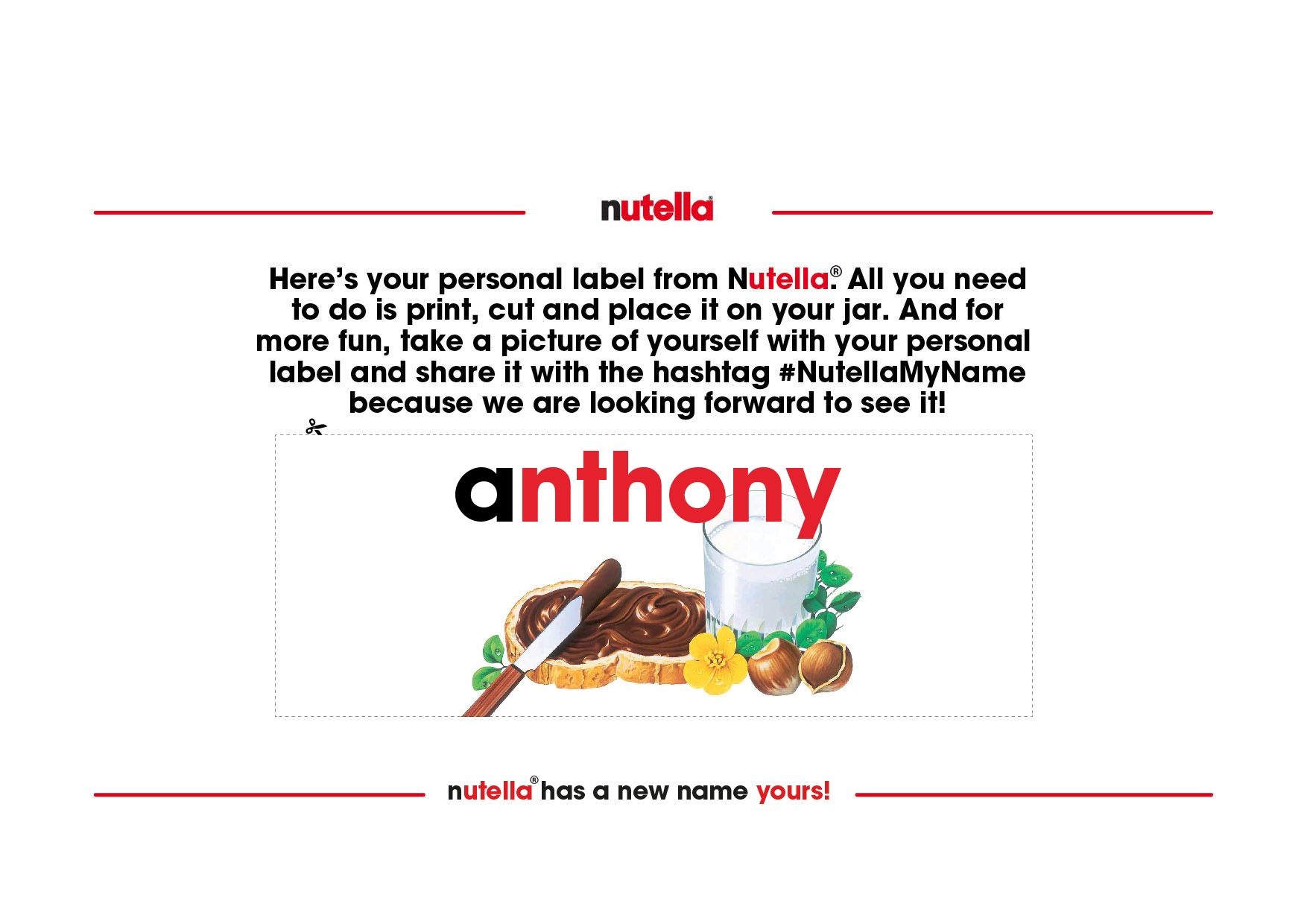 Just an Email Away: Your Name on a Nutella Jar :: NoGarlicNoOnions