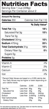 Nutritional Information Template. template specs. free nutrition