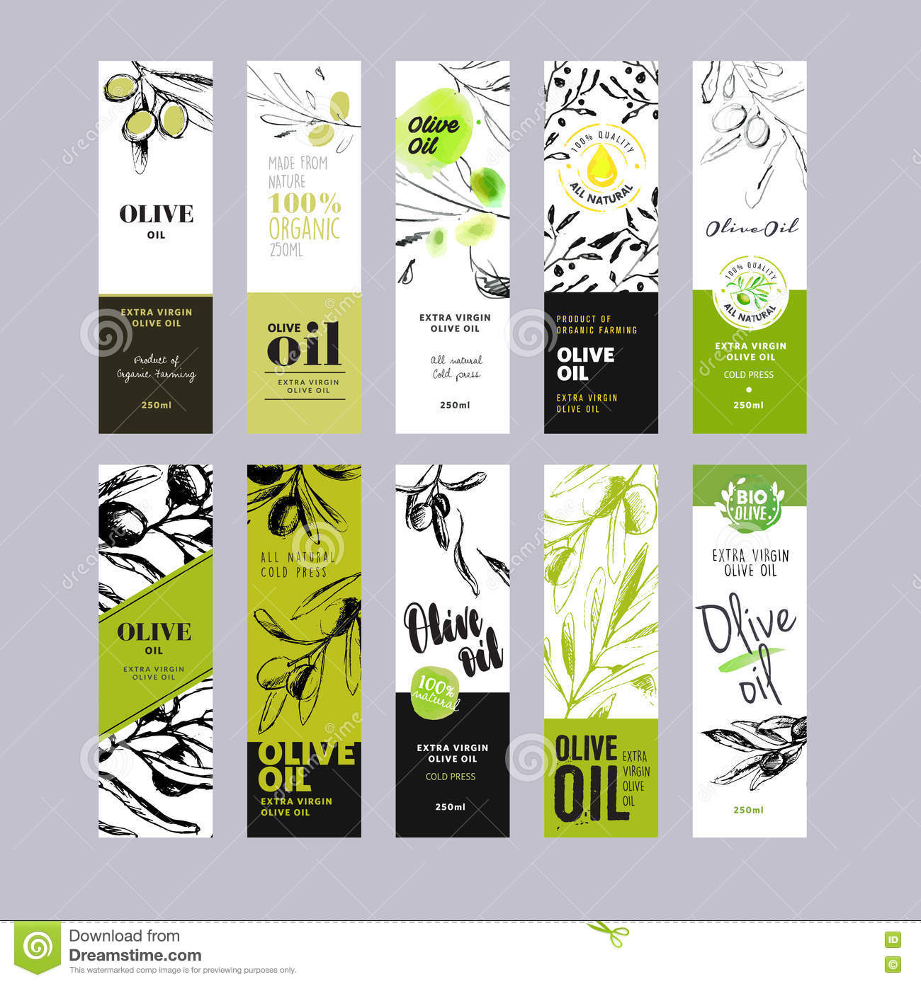 Olive Oil Labels Collection Stock Vector Image: 73130495