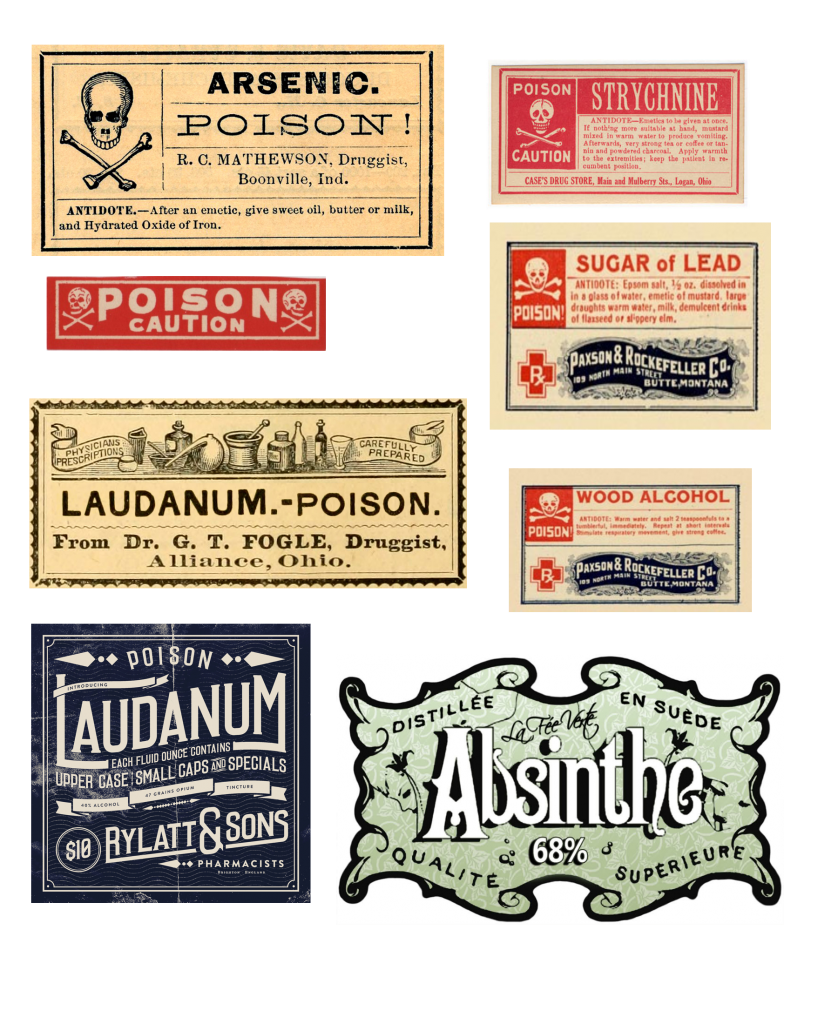 Vintage poisons halloween bottles & free printables
