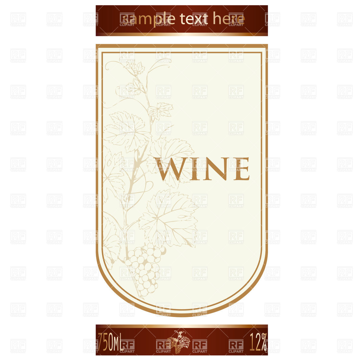 Template of wine label with vine and bunch of grapes Royalty Free