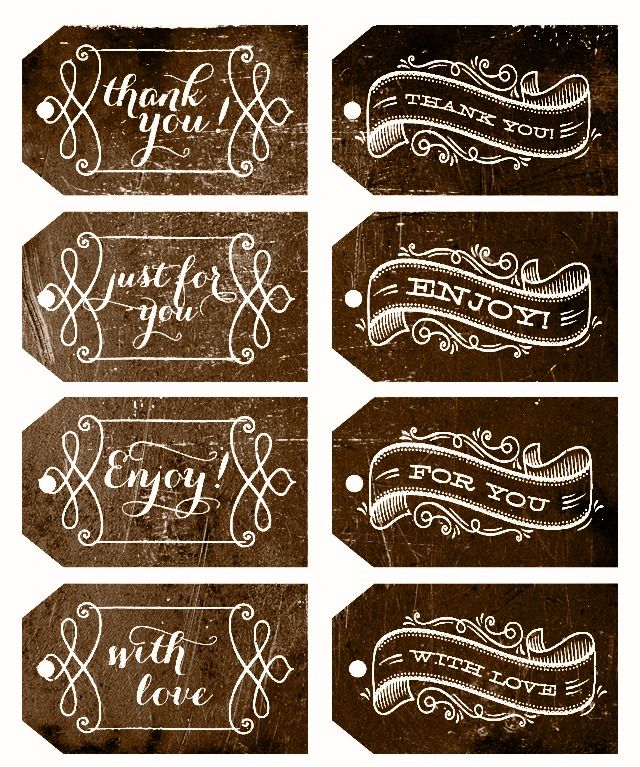 Printable Kraft Paper Label Clip Art: Brown Kraft Tags & Rustic