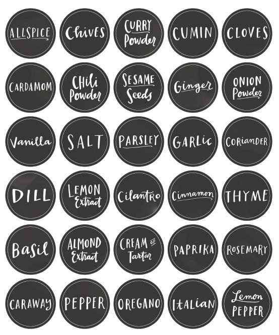 Free Printable Mason Jar Spice Jar Labels | Spice jar labels, Jar