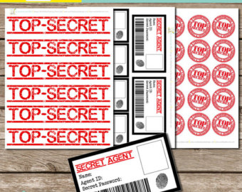 Top secret printable label printable label templates for Spy id card template