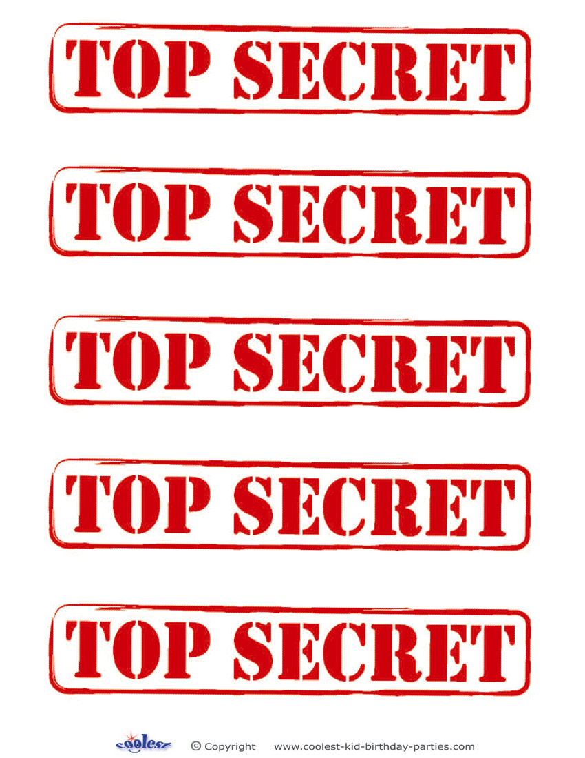 Printable Top Secret Signs