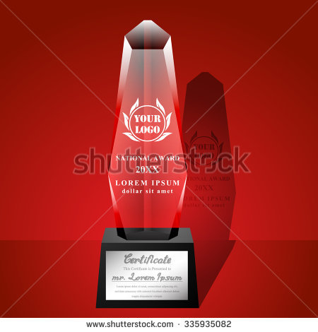 Crystal Trophy Certificate Design Template On Stock Vector
