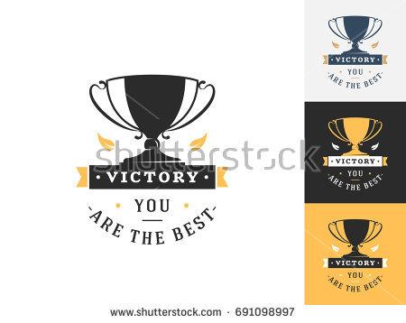 Vintage Trophy Logo Design Template Vector Stock Vector 691098997
