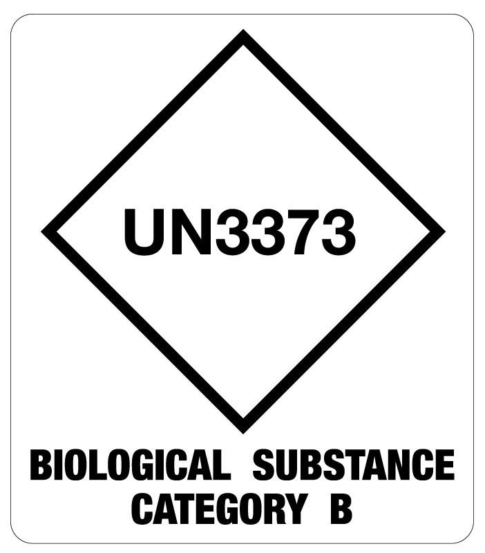 UN3373 Cat B Bio Substance Shipping Label, 3 1/2