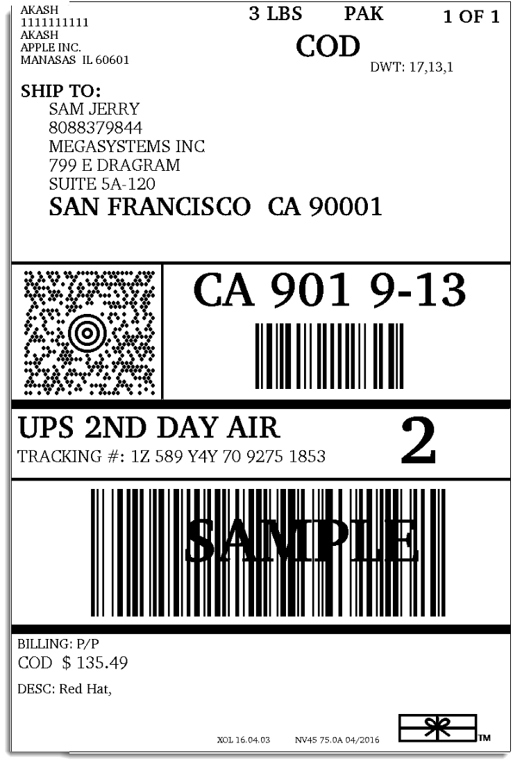 Crush image inside printable ups label