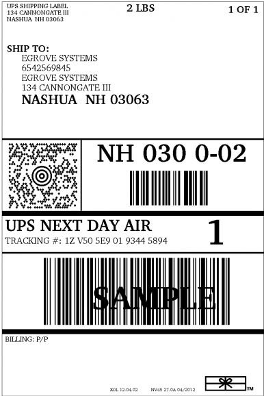 Exceptional image with printable ups label