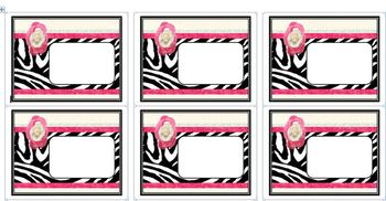 Black and Pink Zebra Print Editable ID Labels for Avery Template