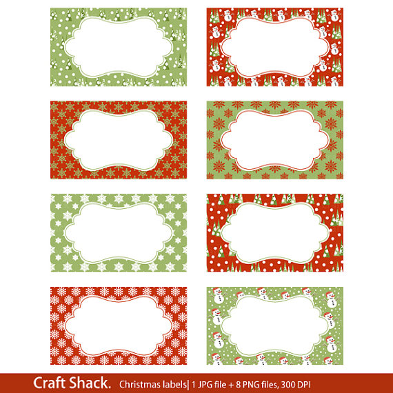Items similar to Printable Christmas labels Print your own labels