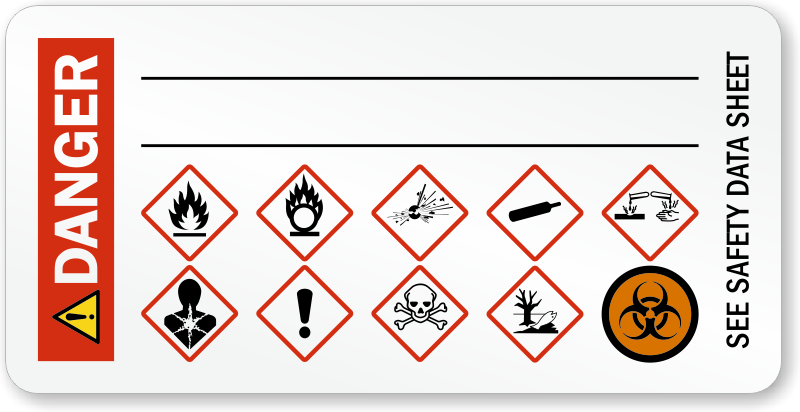 Danger, Biohazard and GHS Secondary Label, SKU: LB 2940