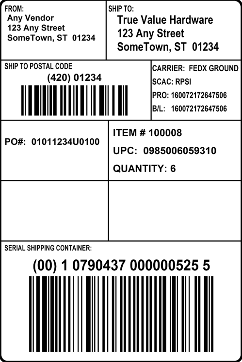 GS1 128 Shipping Label