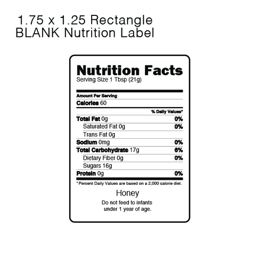 Nutrition Labels for Honey blueskybeesupply.com