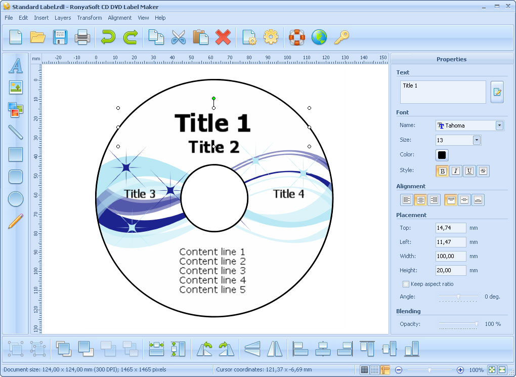 CD DVD Label Maker ScreenShots, CD label and DVD cover template