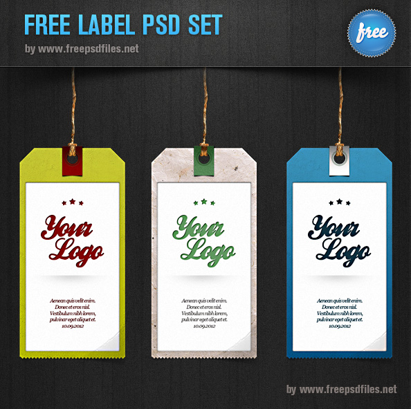 Label PSD Set 3 Tag Templates Free PSD Files
