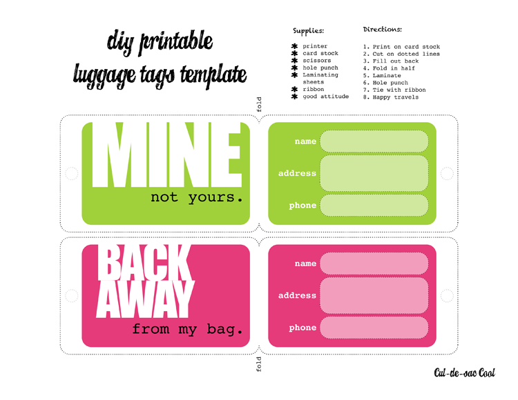 12 Useful Luggage Tag Templates for You | Kitty Baby Love