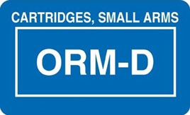 Cartridges, Small Arms ORM D Stickers