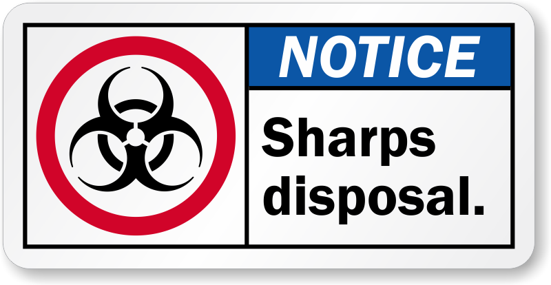 Sharps Warning Labels and Signs Biohazard Sharps Waste Disposal