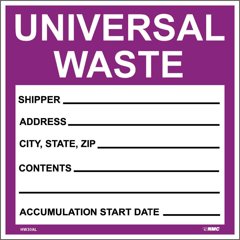 SELF LAMINATING LABELS, UNIVERSAL WASTE IN PURPLE, 6X6, PS VINYL